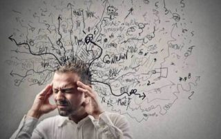 stressed out man with a hundred things running through his mind at the same time
